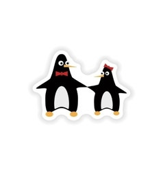 Stylish paper sticker on white background penguins vector