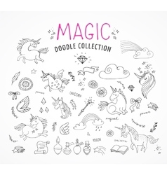 Hand drawn magic unicorn and fairy doodles vector