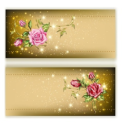 gold card with roses vector image