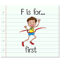 Flashcard letter f is for first vector