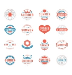 Summer holidays design elements and typography set vector