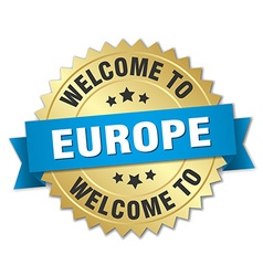 Europe 3d gold badge with blue ribbon vector