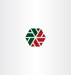 Geometric red green hexagon icon vector