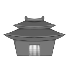 Asian pagoda icon gray monochrome style vector