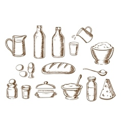 Bakery and bread ingredients sketches vector