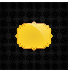 Black abstract texture and golden badge vector