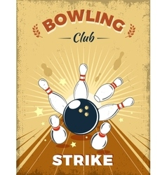 Bowling club retro style design vector