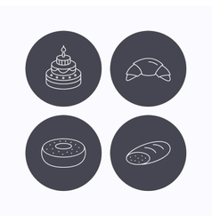Croissant cake and bread icons vector image