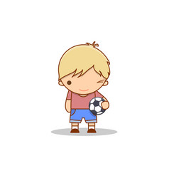 Cute cartoon winking little boy with a football in vector