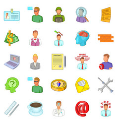Difficult work icons set cartoon style vector
