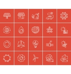 Ecology sketch icon set vector image