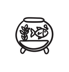 Fish in aquarium sketch icon vector