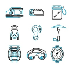 Flat line icons for mountaineering vector