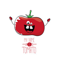 Funny cartoon cute red tomato vector