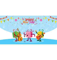 Gift boxes character playing music vector