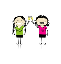 Girls drink wine Party with friends vector image vector image