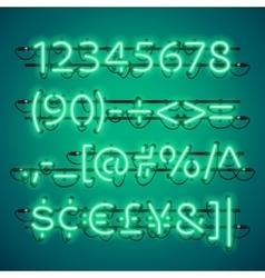 Glowing neon green numbers vector
