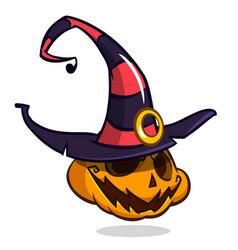 halloween pumpkin in witch hat cartoon vector image