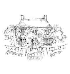 Hand made sketch of old house vector