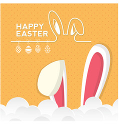 Happy easter bunny ear clound orange background ve vector