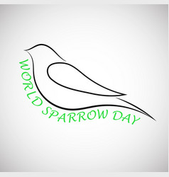 Lovely laconical card for world sparrow day print vector