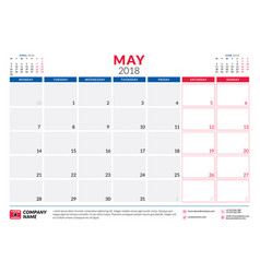 may 2018 calendar planner design template week vector image vector image