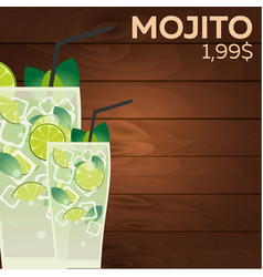 Mojito price fast food restauran menu vector