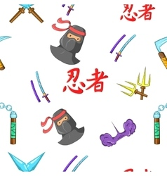 Ninja pattern cartoon style vector