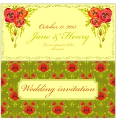 Poppy flower wedding invitation vintage elegant vector