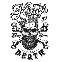 Quote typography with black and white king skull vector