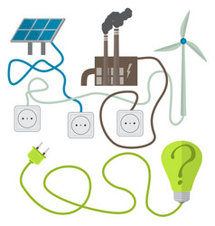 Renewable energy sources choosing concept vector