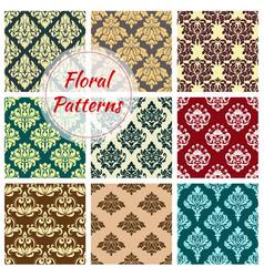 Seamless floral damask patterns set vector