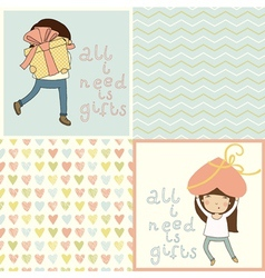 Set with cute kids card and seamless pattern vector image