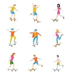 Skateboard characters set vector image