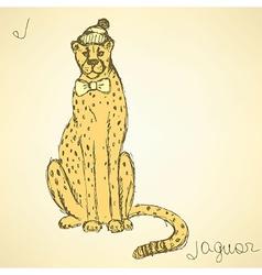 Sketch fancy jaguar in vintage style vector