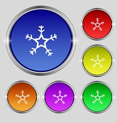 Snow icon sign round symbol on bright colourful vector