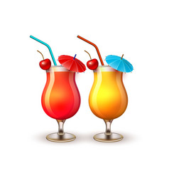 summer vacation realistic cocktail glass vector image vector image