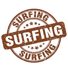 Surfing brown grunge round vintage rubber stamp vector