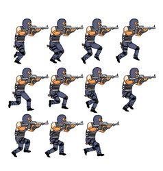 Swat officer running sequence vector