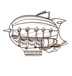 vintage airship outline drawing for coloring vector image