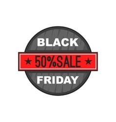 Black friday 50 off icon cartoon style vector