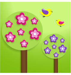 paper trees with colorful flowers vector image