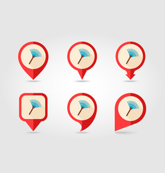 Garden rake flat pin map icon vector