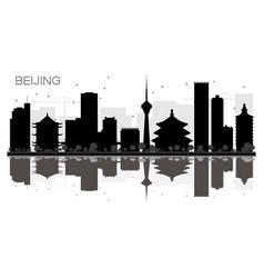 beijing city skyline black and white silhouette vector image
