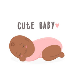 Cute black new boy baby girl vector