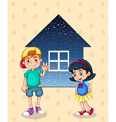 A small boy and a small girl standing in front of vector image