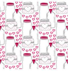 Cute jars pattern valentines seamless background vector