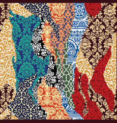 Damask ripped patchwork vector