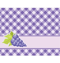 Checkered purple background with grapes vector image