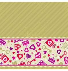 Beige valentine background with pink hearts vector